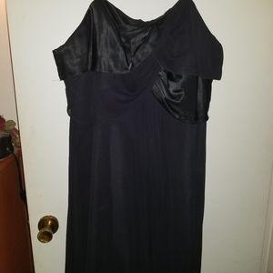 Black Chiffon Strapless Cocktail Dress w Satin